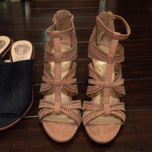 Camuto heels booties sandal wedding 7.5 8.0 nude
